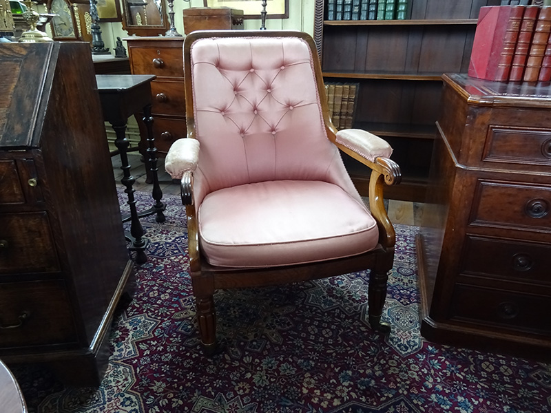 William IV rosewood framed easy chair