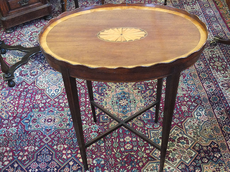 Late Victorian oval occasional table, wavy edge border