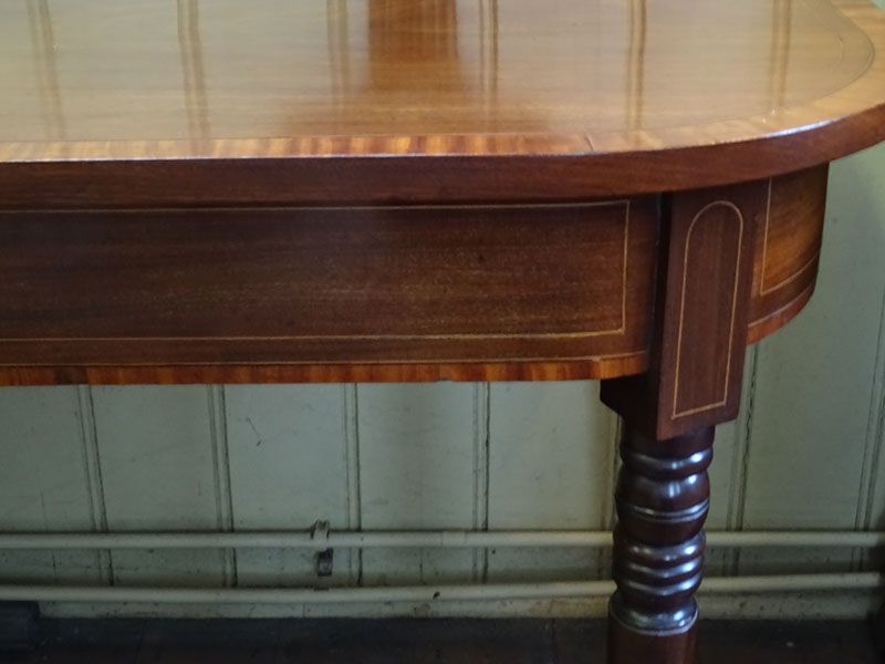 Pair of William IV crossbanded mahogany side tables