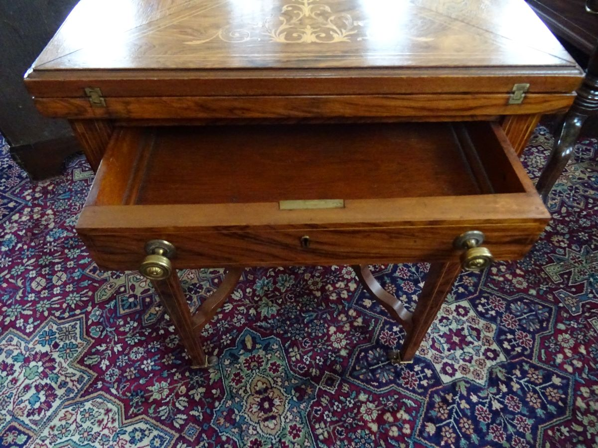 Late Victorian rosewood envelope card table