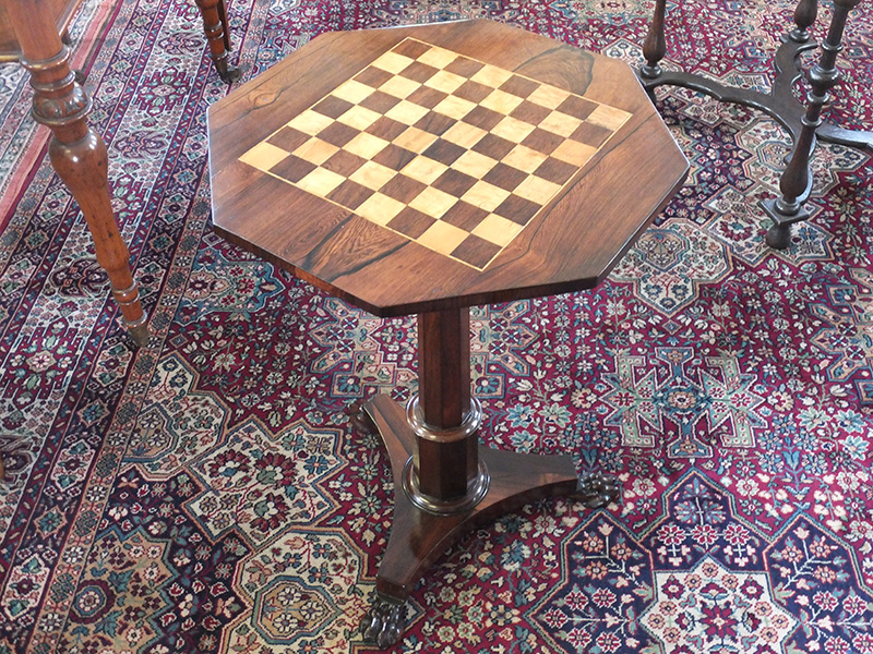 Regency rosewood pedestal games table